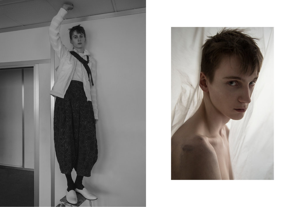Left Cotton Knit Sweater  SACAI , White Sleeveless Zip Up Vest  COTTWEILER , Black Printed Pants  ISSEY MIYAKE MEN , Black Socks  EMILIO CAVALLINI , White Leather Loafers  JUNN.J , Bag  HOMME PLISSE ISSEY MIYAKE