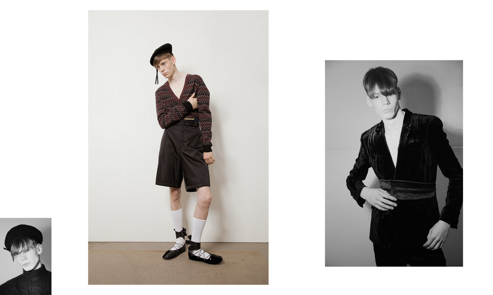 Left to Right   Top Aaizel and Beret Sonia Rykiel  Sweater & Shorts Prada Shoes Ludovic de Saint Sernin, Socks Falke and  Beret Sonia Rykiel  Blazer Saint Laurent, Trousers Saint Laurent by Anthony Vaccarello and Cummerbund Stylist's Archive