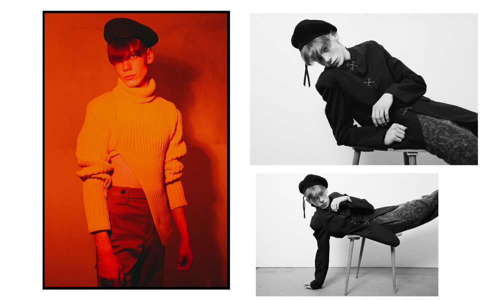 Left Sweater & Pants Louis Vuitton and Beret Stylist's Archive  Right Jacket & pants Pronounce and Beret Stylist's Archive