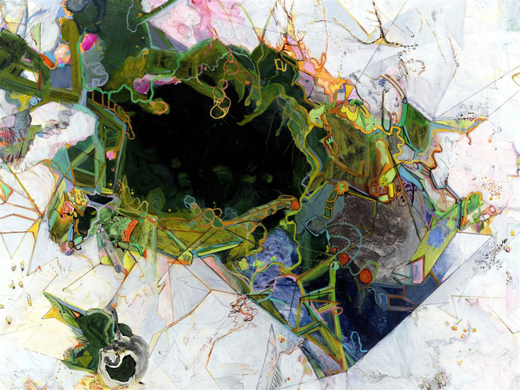 """the dandelions are over    / Detail / Mixed media on canvas over panel / 58"""" x 70"""" Review by Paul Klein, July 10, 2009"""