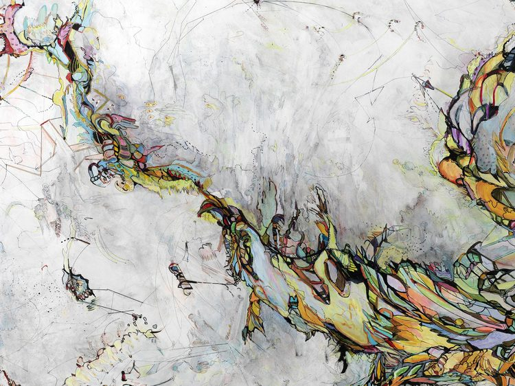 """logic #4 / exploration   Detail / Acrylic, ink and colored pencil on canvas / 48""""x 71"""" / 2011"""
