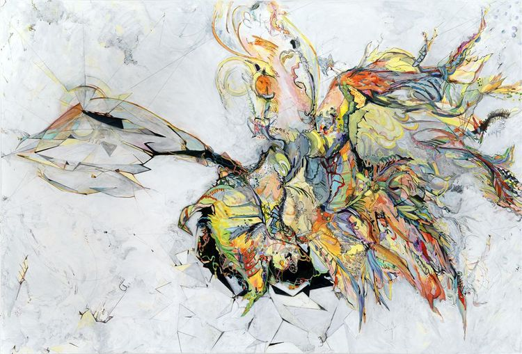"logic #1 / flight   Acrylic, ink and colored pencil on canvas / 48""x 72"" / 2010"