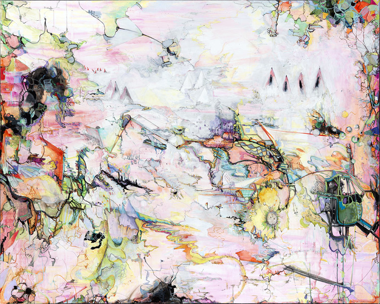 "the story behind it   Acrylic and ink on canvas / 60"" x 75"" / 2008"