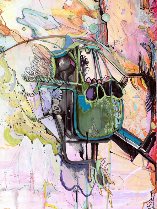 "the story behind it   Detail / Acrylic and ink on canvas / 60"" x 75"" / 2008"
