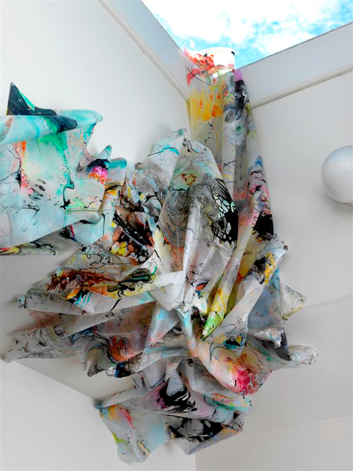skylight    Detail / Studio installation / Acrylic and ink on drafting film / 2008