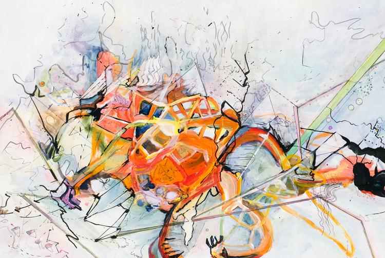 """fear of faith   Detail / Acrylic, ink on board / 42.5"""" x 39"""" / 2007"""