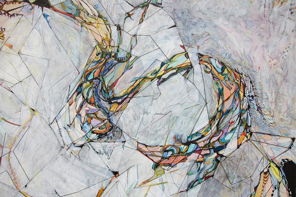 "she ( the plover) sang dirrindí / hún söng dirrindí     Detail / Acrylic and ink on French cotton / 51 1/4"" x 39.5"" ( 130 x 100 cm) / 2018"