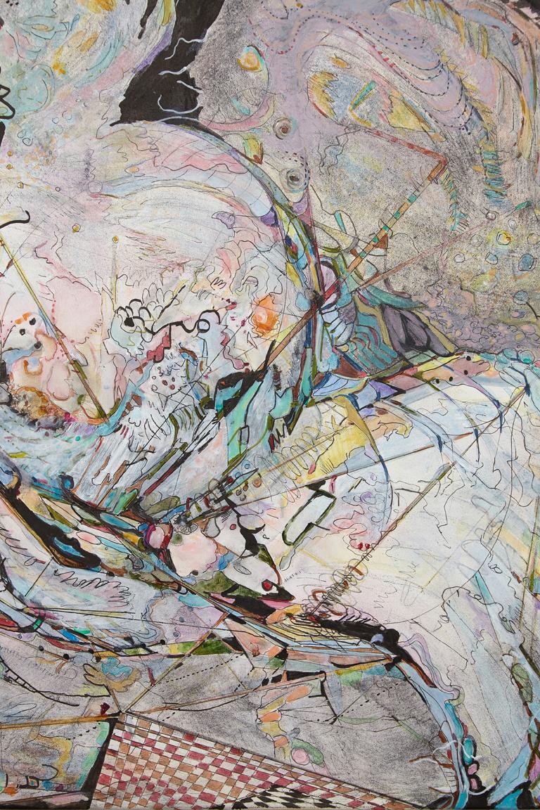 "sailing solo #2 / einn á báti #2     Detail / Acrylic and ink on French cotton / 15 3/4"" x 23 3/4"" ( 40 x 60cm) / 2018"