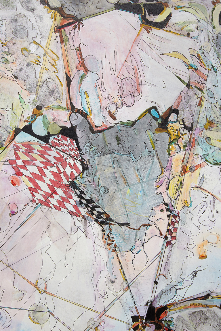 "twilight picnic / dúkað á dimmum sandi     Detail / Acrylic and ink on French cotton / 15 3/4 "" x 23 3/4"" ( 40 x 60 cm) / 2018"
