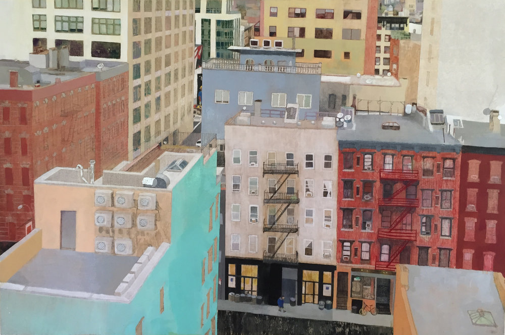 "Soho     36""x 24"" Mixed Media on Wood Panel"