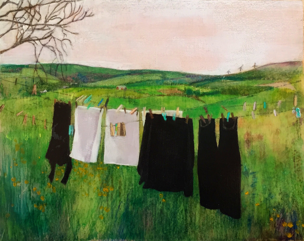 "Clothesline   10""x8"" Mixed Media on Wood Panel"