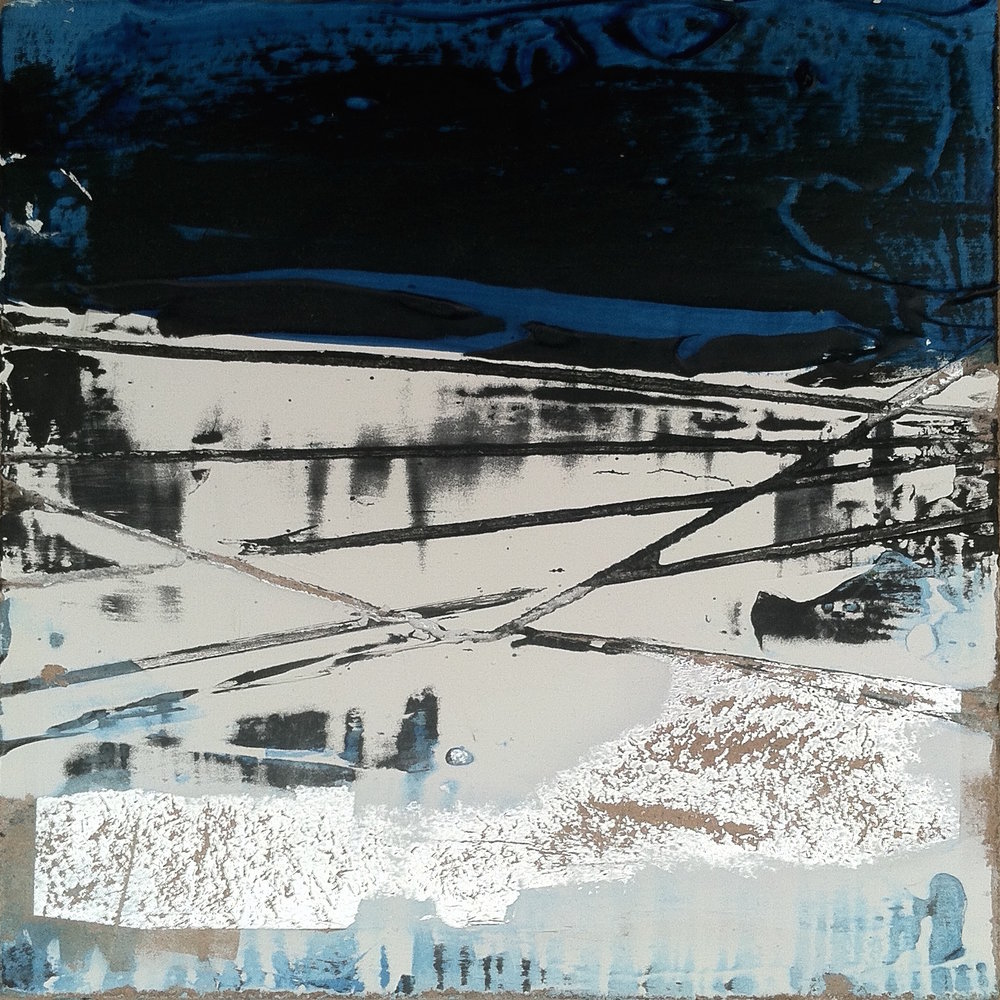 "Ice Sheets   6""sq. Mixed Media on Wood Panel"