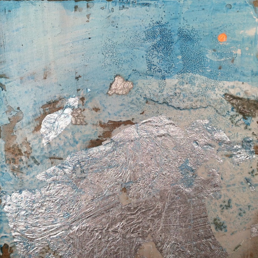 "Arctic Light 1   6""sq. Mixed Media on Wood Panel"