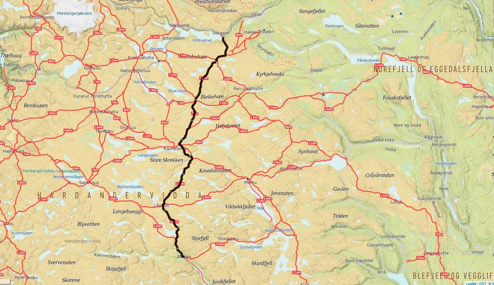 Ruta vi skulle løpe fra Ustaoset til Mogen. Kart: Ut.no (klikk for større bilde).