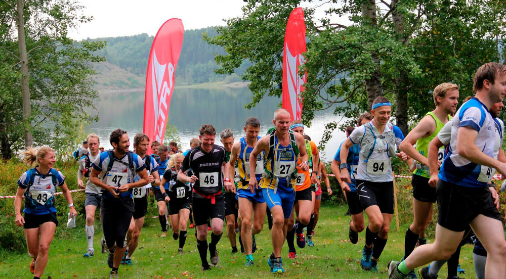 Starten ved Øyeren 2016. Foto: Østmarka Trail Challenge.