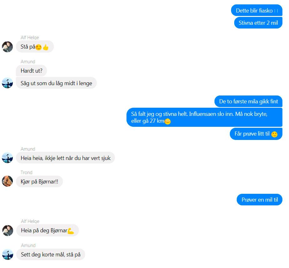 Fire fettere fra Austevoll har fulgt med på livetrackingen og skriver hyggelige meldinger til meg. Det hjelper å vite at noen bryr seg.