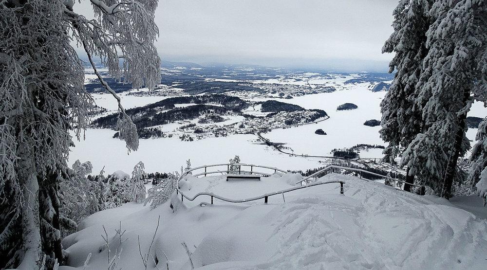 Fra Kongens utsikt ser vi Tyrifjorden, Steinsfjorden og store deler av Ringerike. Navnet har opprinnelse fra da kong Karl Johan var her i 1832.Det går sti og skiløype opp hit fra Kleivstua.Foto: Bjørnar Eidsmo.