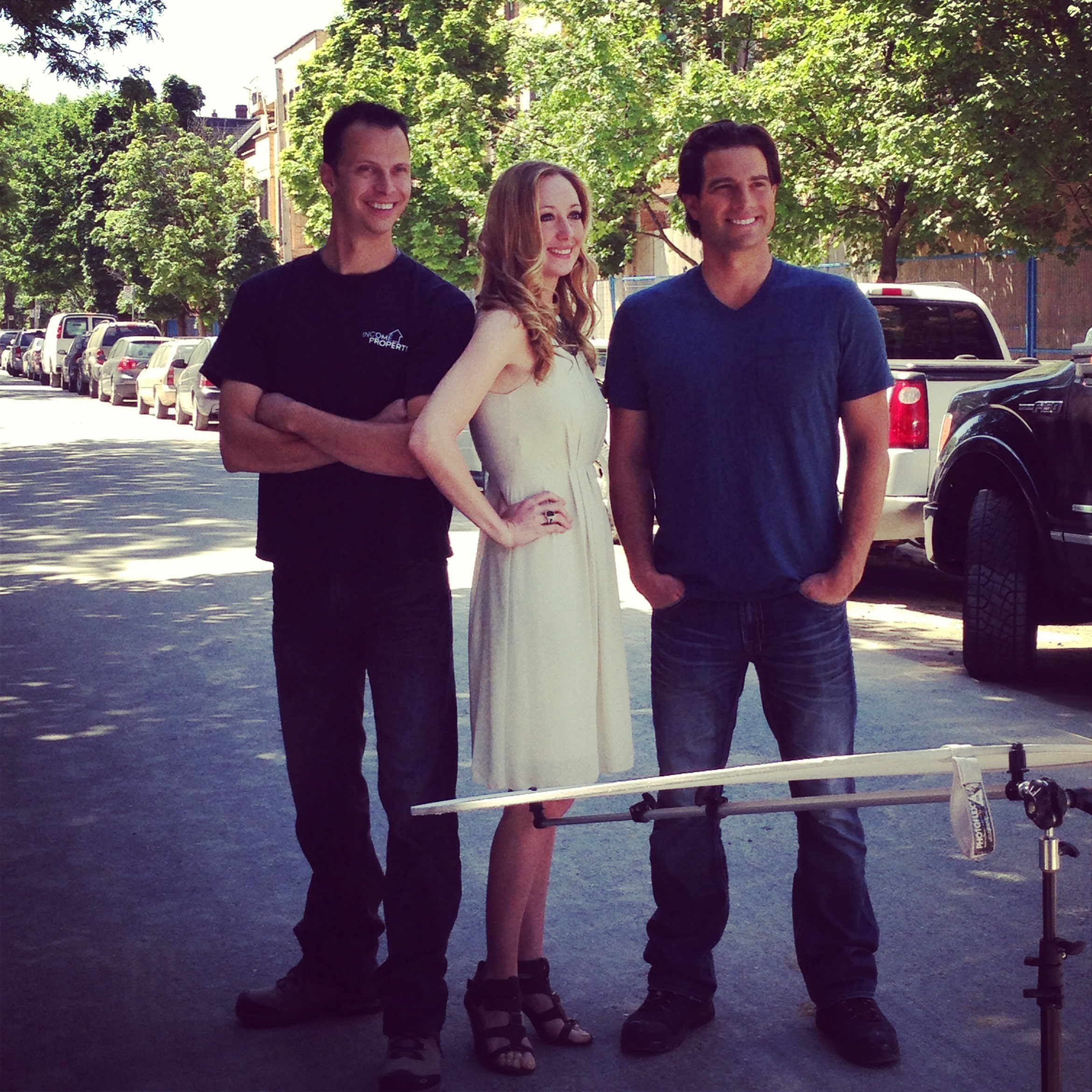 The Income Property Team: Project Manager Tim Sellars, Designer Melissa Davis, and Host Scott McGillivray.