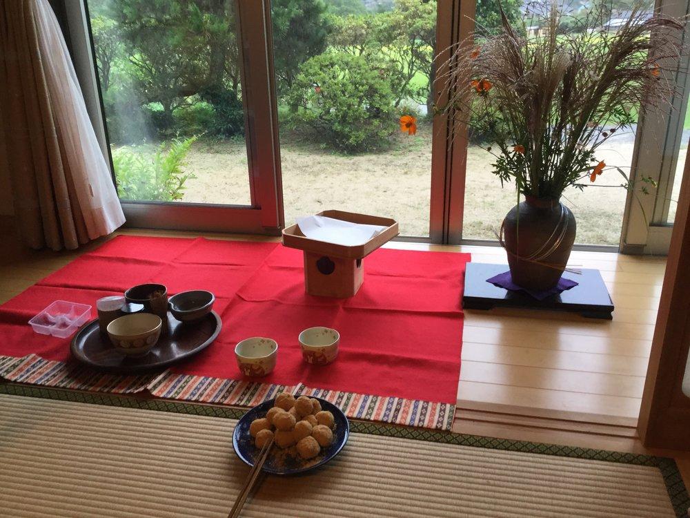Set up at the tatami room window