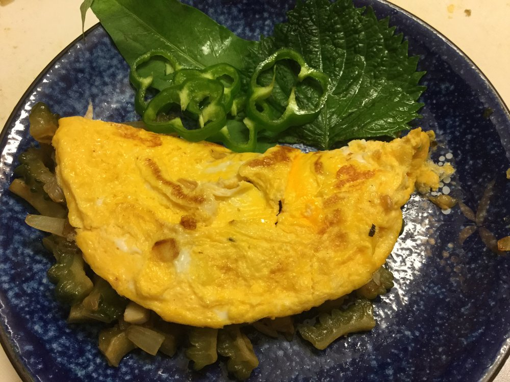 ...and the omelette is done - all garnishes are from the garden!