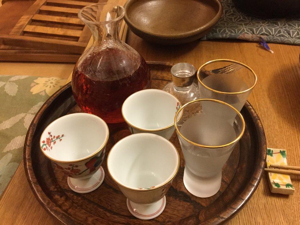 Special treat - home made plum sake
