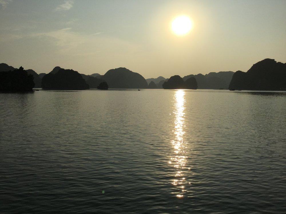 On the way back, enjoying the sunset.