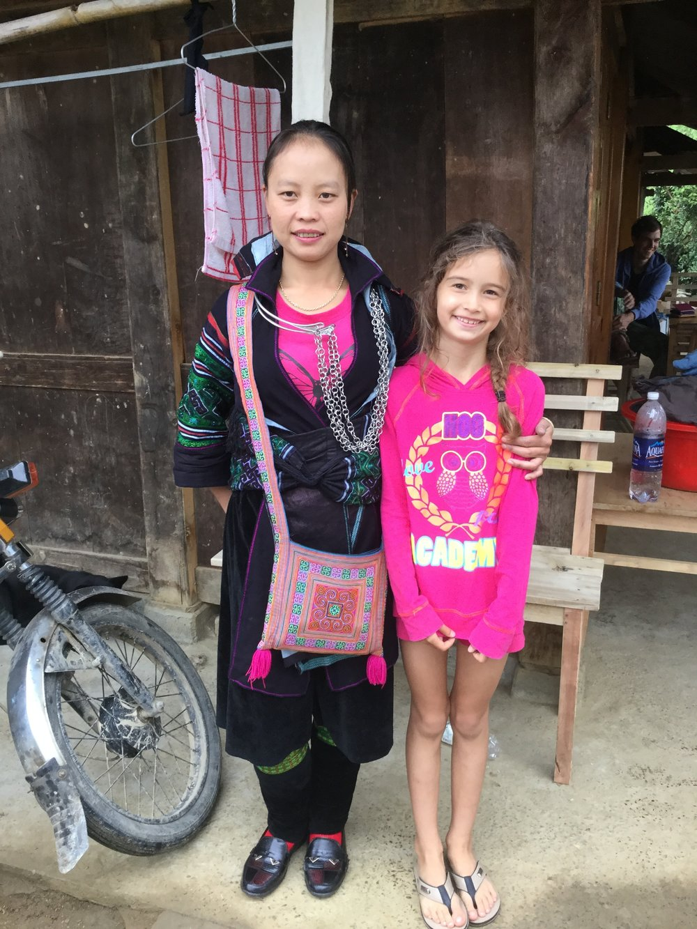 Lili and Zizi, our host. Zizi is dressed in the traditional Black Hmong costume - she was actually going to a wedding today.