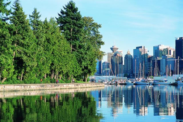 Stanley Park - it has a 8 km sea wall that is great for rollerblading or jogging.