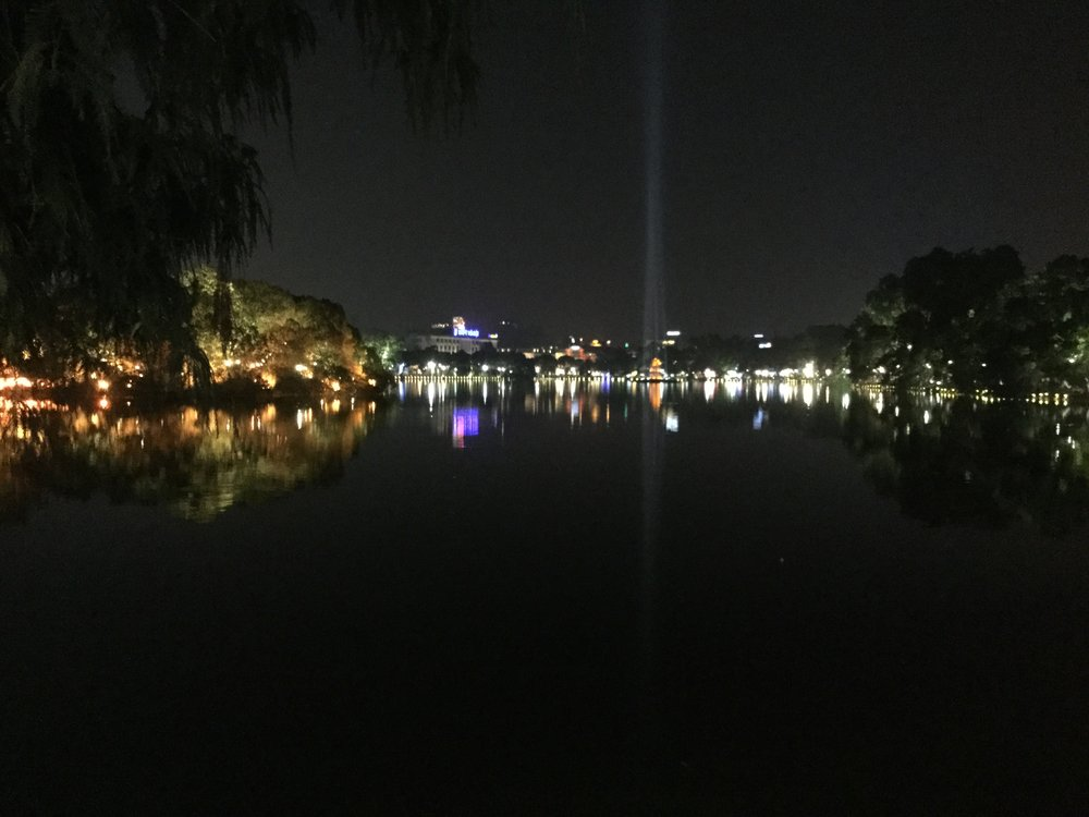 The lake at night.