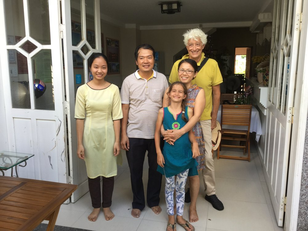 Saying our goodbyes at our Danang homestay. It was such a nice place to stay and we had amazing family meals there. If you go to Vietnam, we highly recommend using homestays.