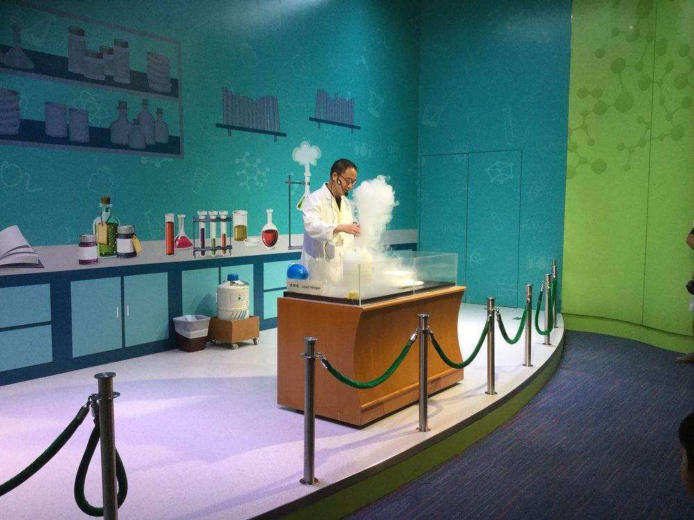 Liquid nitrogen demonstration.