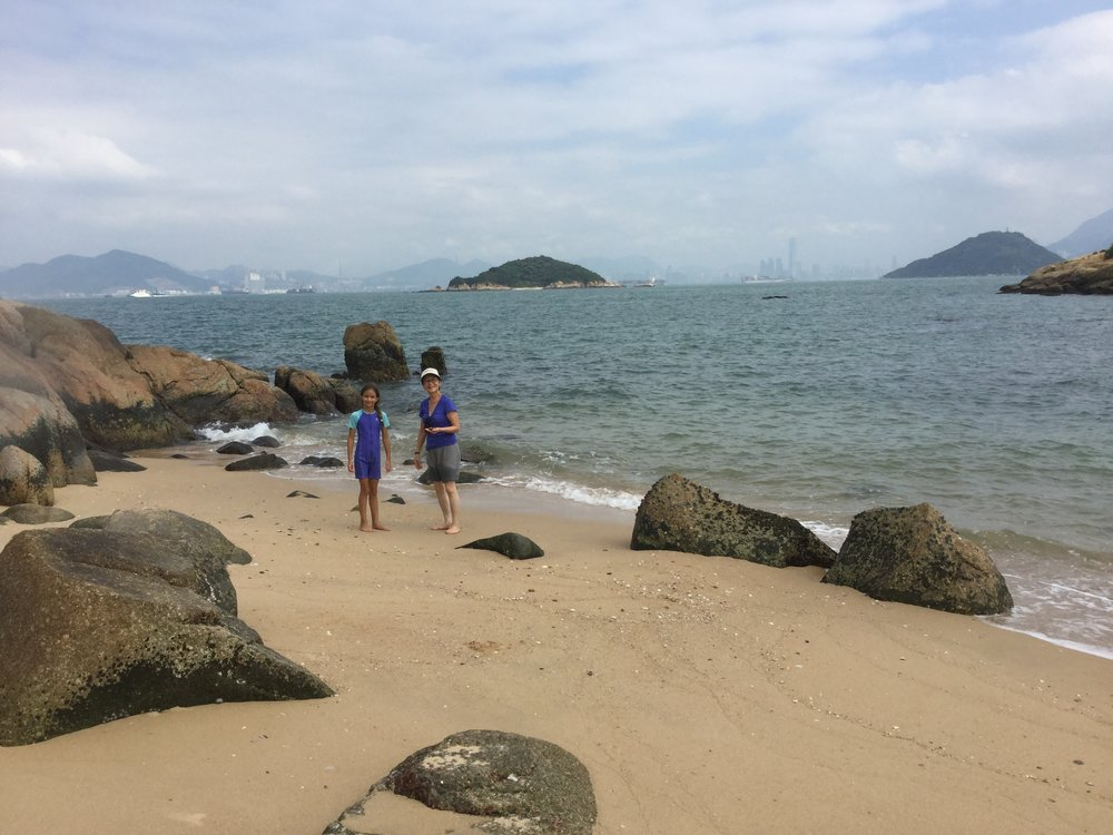 And here is the lovely beach. In the background you can see the big huge towers of Hong Kong and Kowloon.