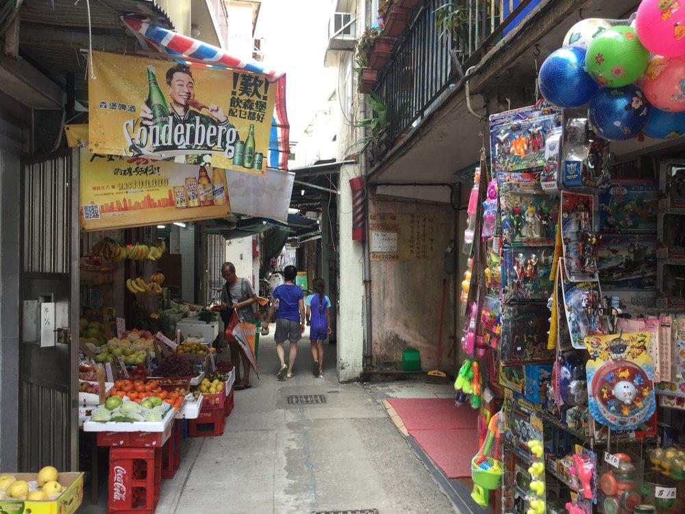 Market stalls.