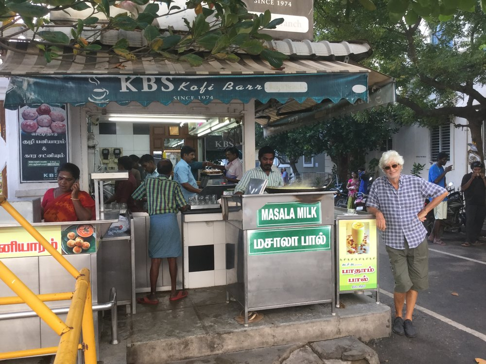 Dante at a tea stall in Pondicherry