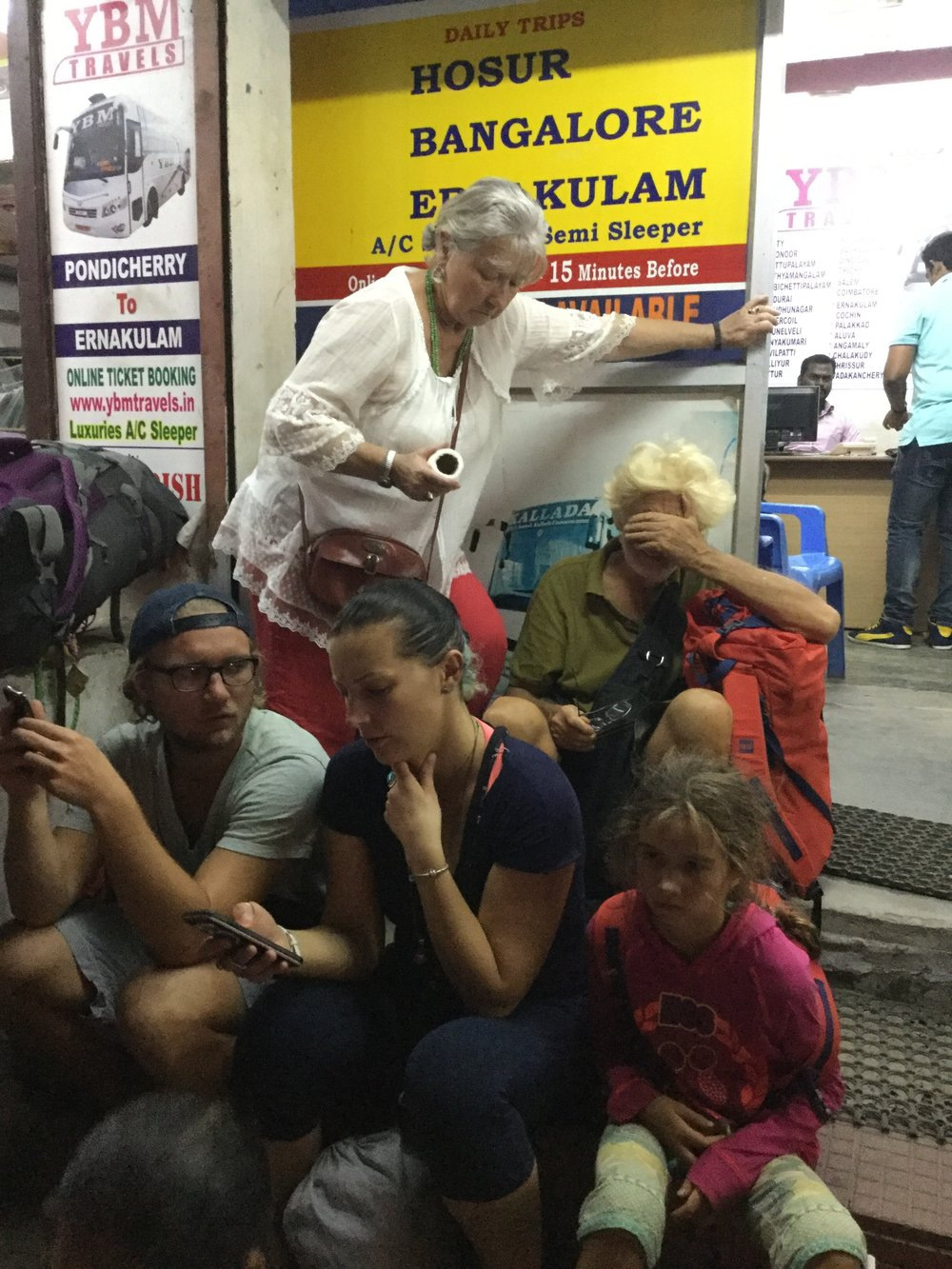 Waiting for the bus in Pondi. We were all tired - it left at 10 pm.