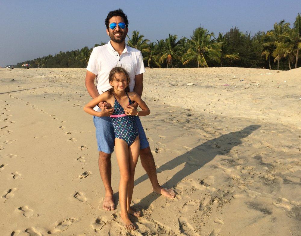 Lili and Dr. Bobby on Marari Beach