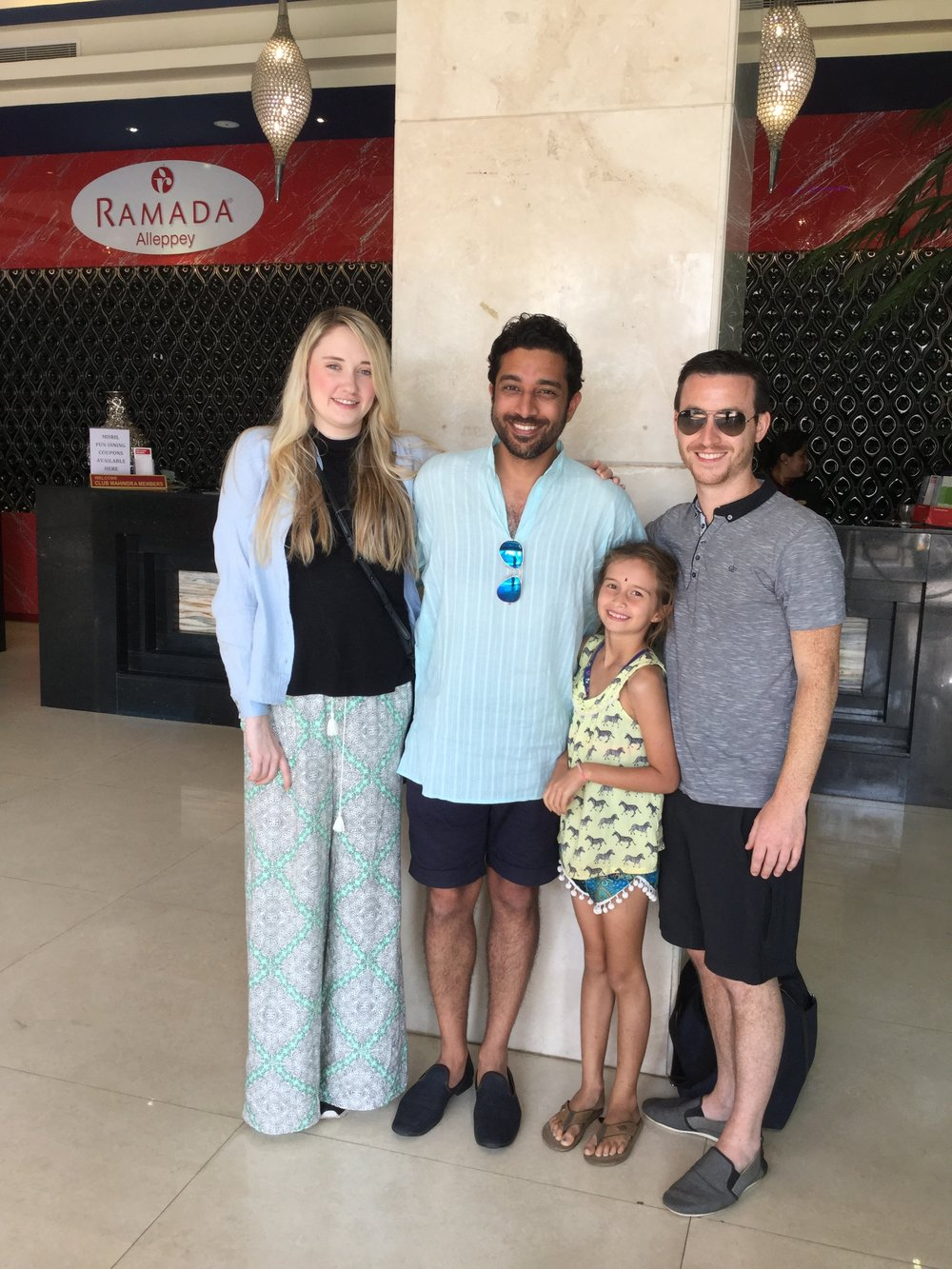 Emily, Bobby, Lili and Rob at the lobby of the Ramada in Alleppey. I have to extend a special note of gratitude to the Ramada staff who were extremely kind and welcoming to us even though we were not staying there (Bobby & troupe were). We spent some really great times at their pool and games area playing carrom / carambol and badminton.