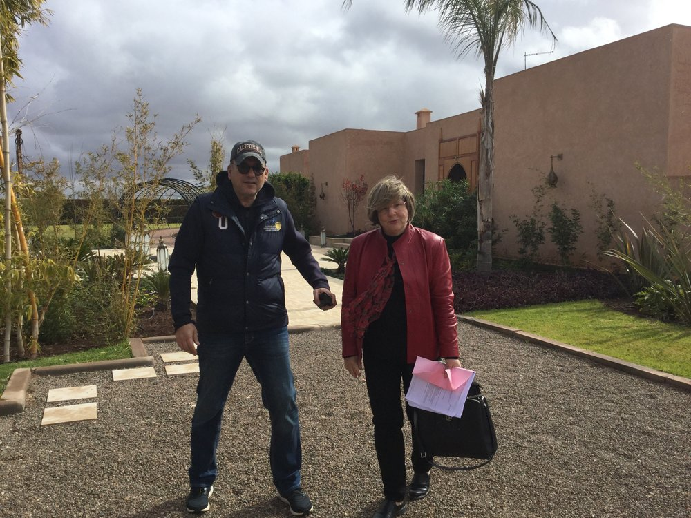 Carey with a client. This gentleman (head of Volvo Morocco) has built a beautiful house outside Marrakesh. I got to see the finished job as an interloper on a site visit!