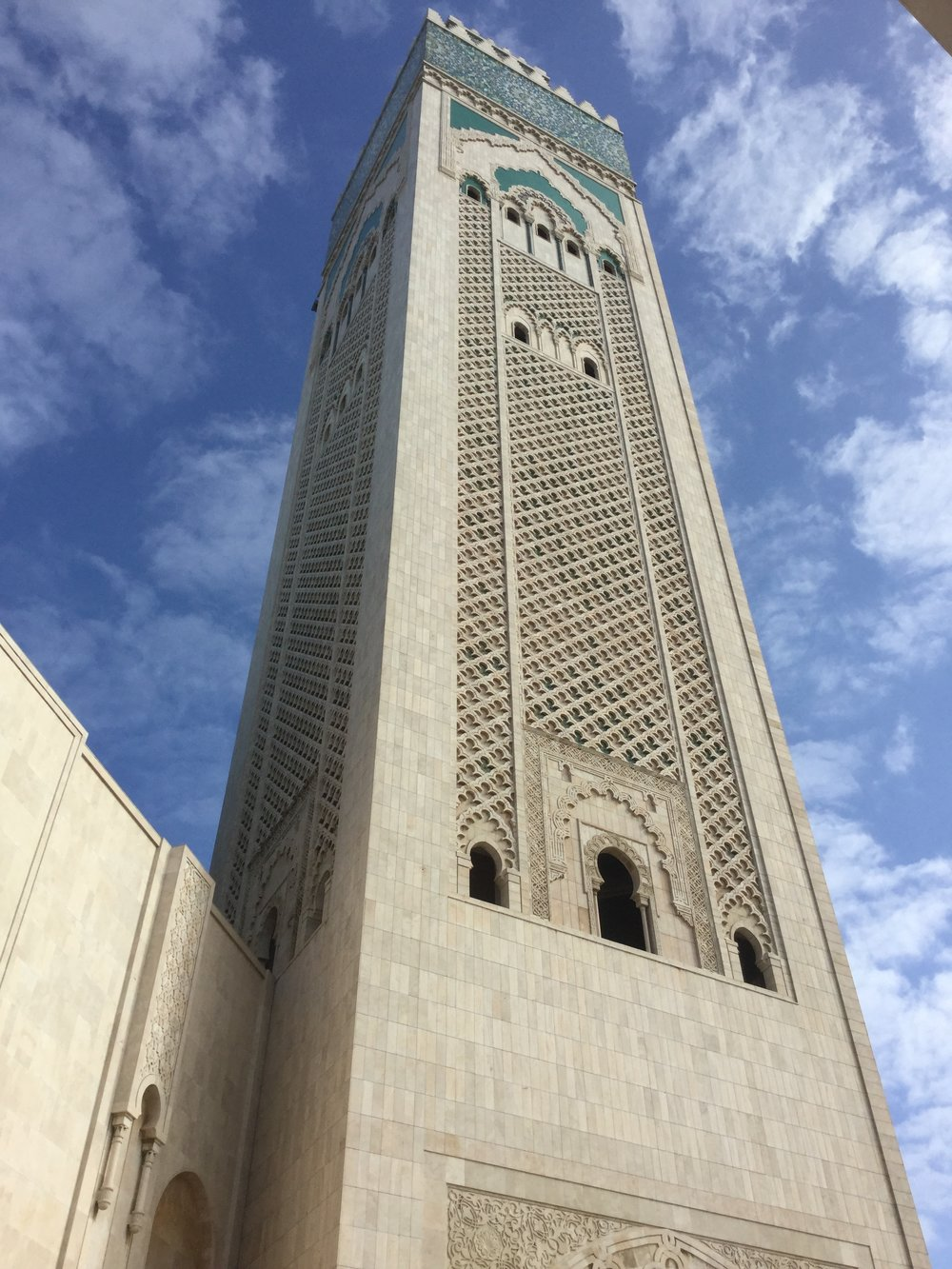 The minaret, from which calls to prayer are broadcast five times a day, is over 200 meters tall.
