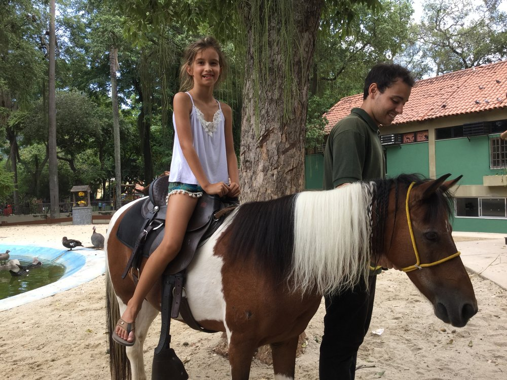 There is also a petting zoo where Lili had a pony ride.