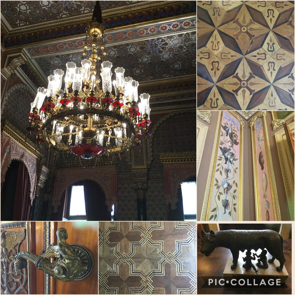 I made a little collage of some beautiful details in the building. The red chandelier is from the Moorish room.    I got even a bit inspired to make different themed rooms in our little home when we get home!