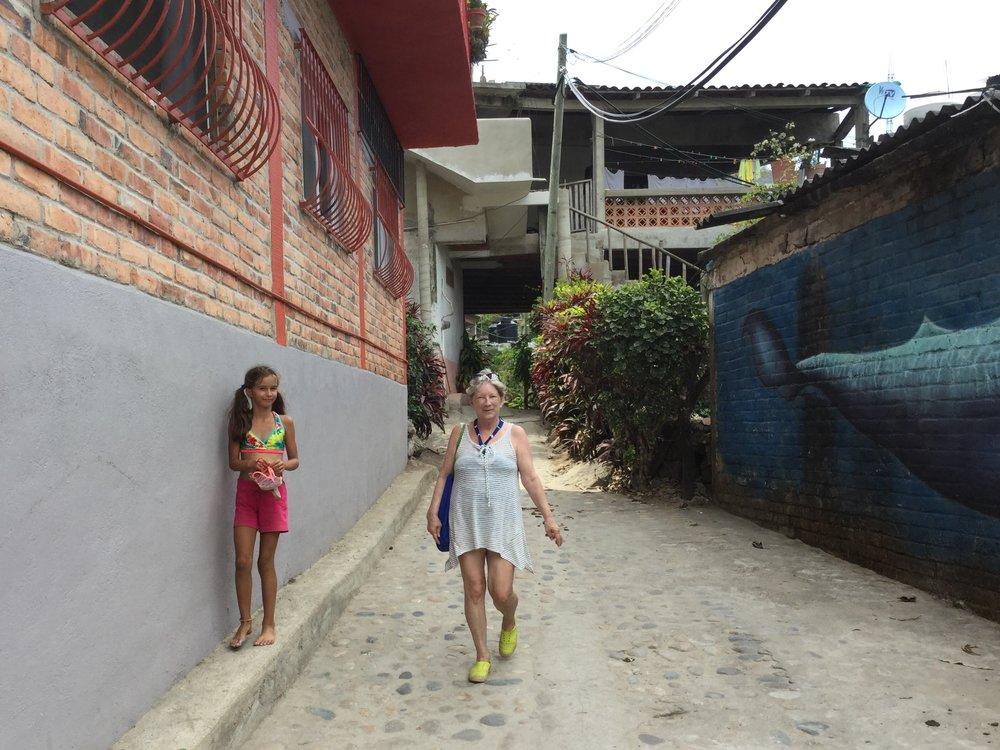 Walking down the street in Yelapa.