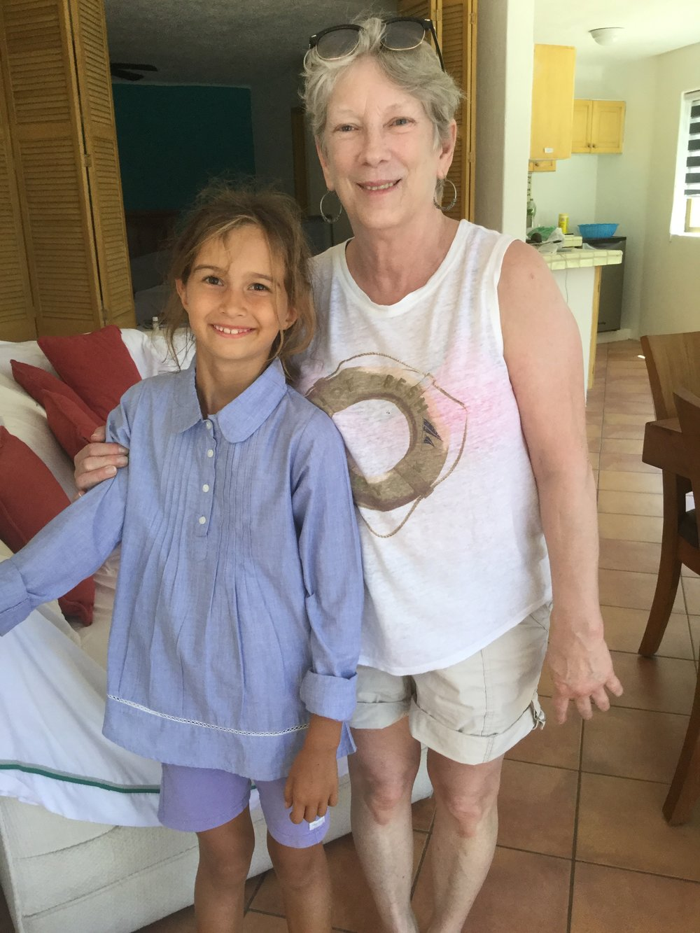 Getting ready for going riding. Lili is wearing a new shirt that she declared would be perfect for riding - and she has used it on a few rides already.