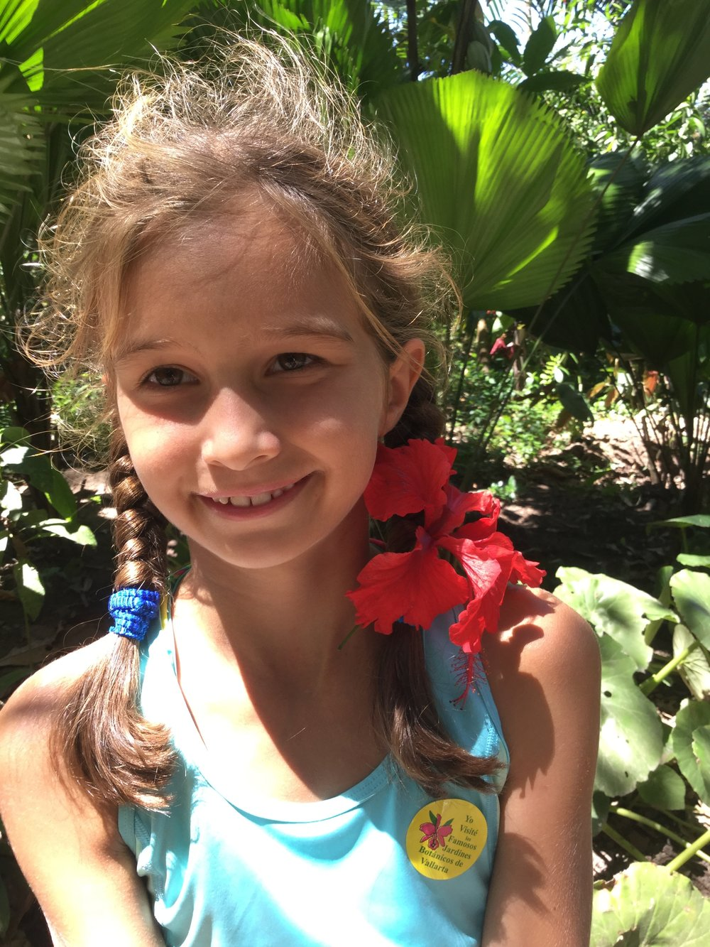 Lili was given a hibiscus for her hair.