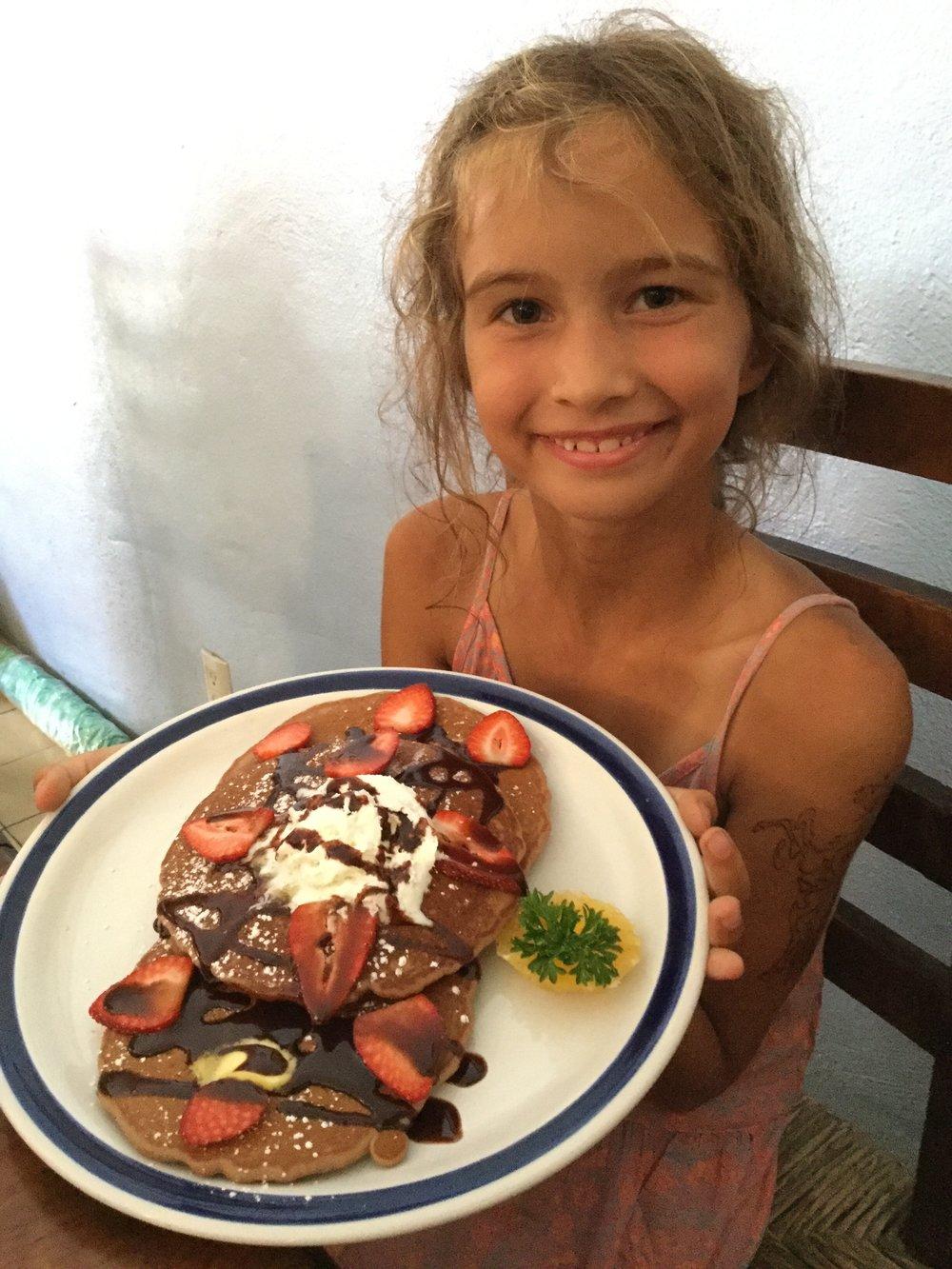 Oh yeah. Chocolate strawberry pancakes.