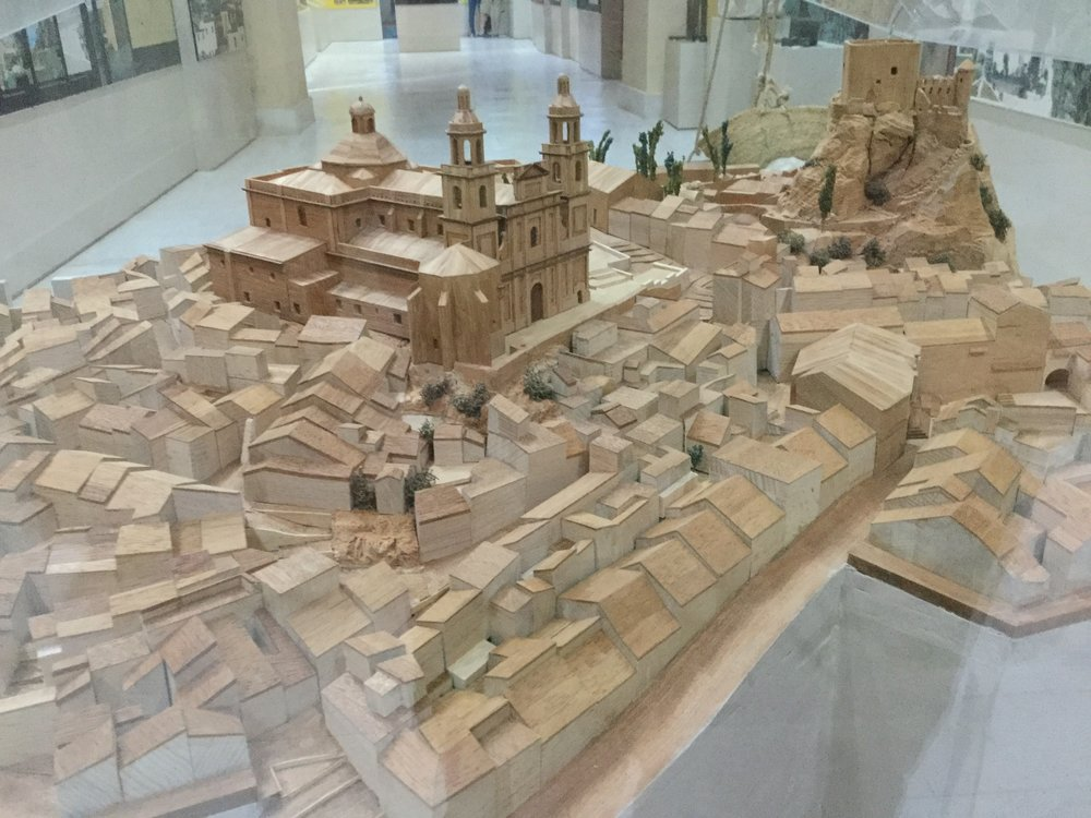 A model of the medieval city at the museum. We have rented the house that is in front of the two ramps mid-left in front of the cathedral. The castle is on the right, the highest point in Olvera.