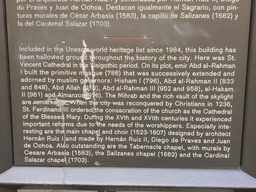 For those who don't know the story - there has been a mosque, no a Catholic church, no a mosque, no a Catholic church in this location for a loooooong time. And so there are this Mosque and a Catholic Church in Cordoba. In the same building.