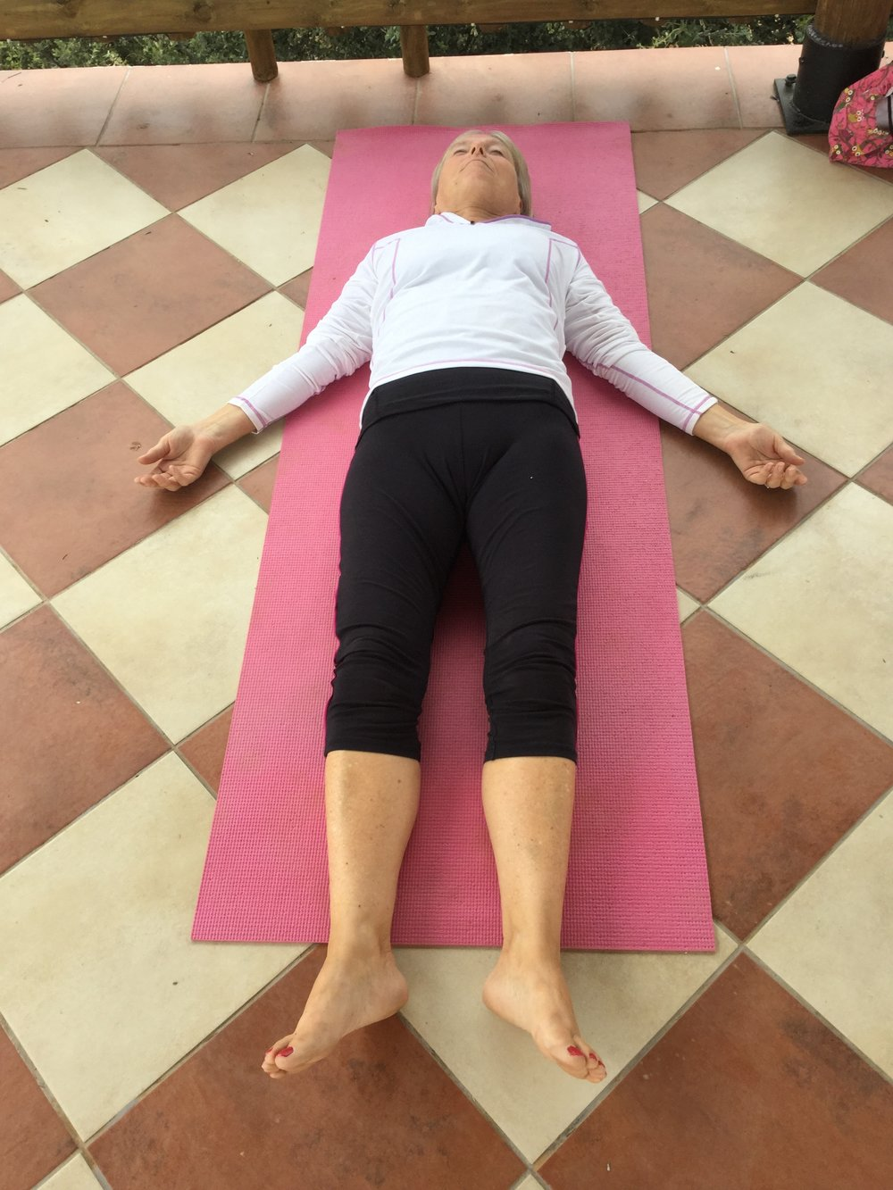 Sue enjoying Shavasana.