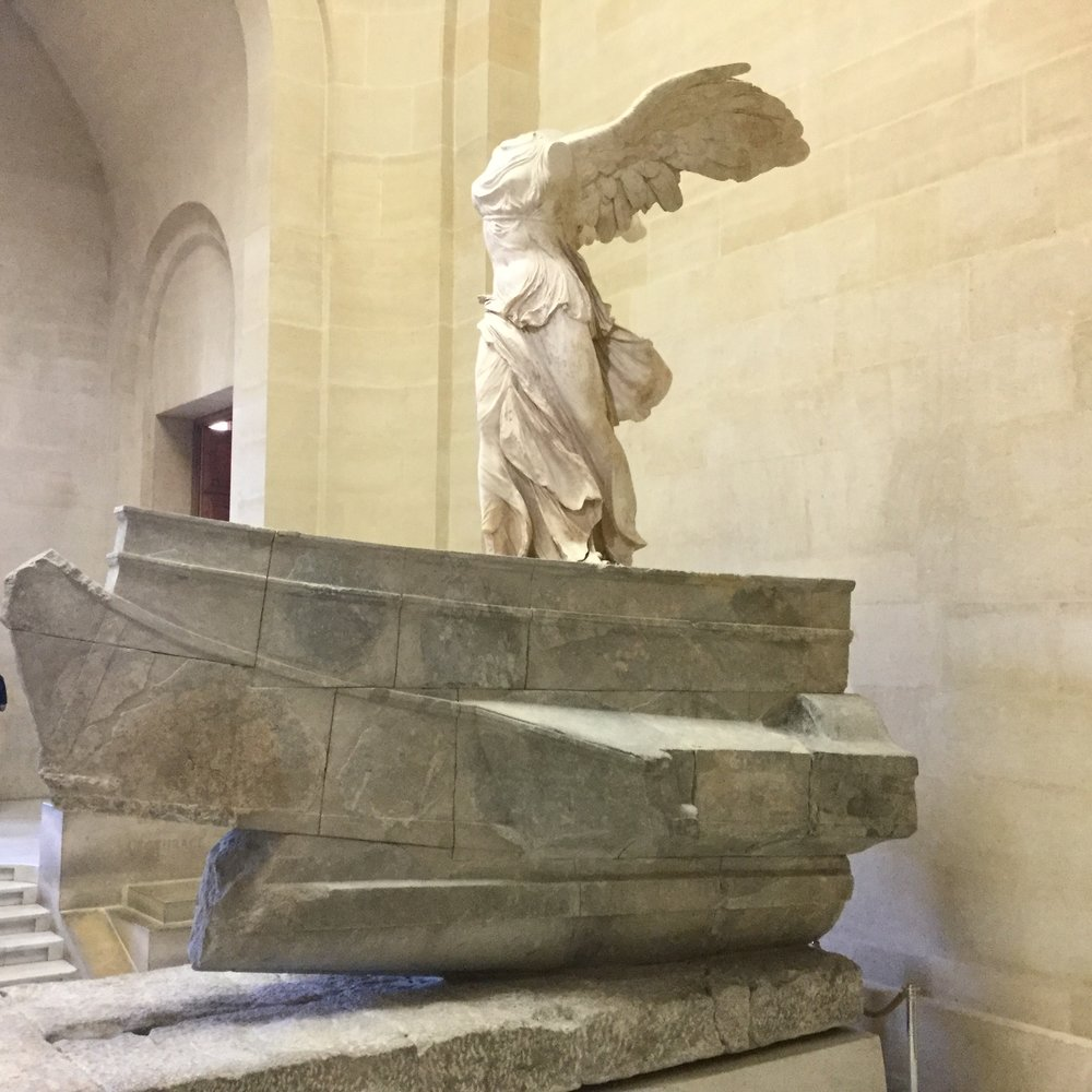 Love this. It is in one of the main stairwells. It is The   Winged Victory of Samothrace  , also called the   Nike of Samothrace.