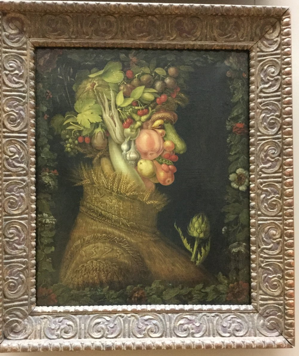 Remember this? We have a picture book of the vegetable guys of Giuseppe Arcimboldo, appr. 1573. He made four of them, one for each season. This is summer.